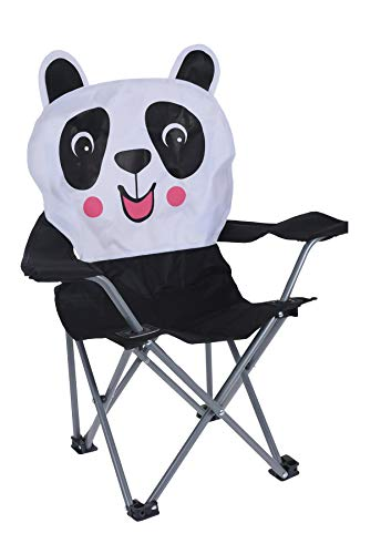 idooka Kids Folding Deck Chair with Carry Bag for Camping, Beach, Garden, Fishing - Cute Animals Design in Panda - Strong Portable Plastic Chairs for Children up to 50kg