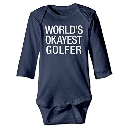 MSGDF Unisex Infant Bodysuits World's Okayest Golfer Baby Babysuit Long Sleeve Jumpsuit Sunsuit Outfit Navy