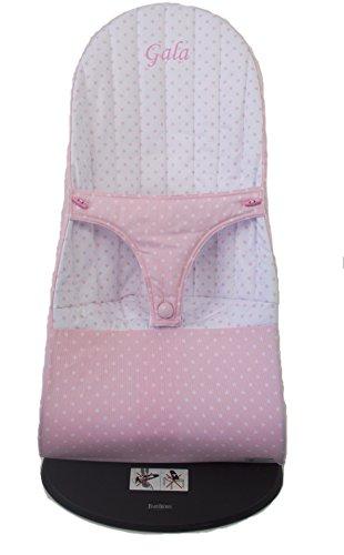 Funda para Hamaca BabyBjörn Balance Soft REVERSIBLE, BORDADA CON EL NOMBRE DEL BEBÉ, (Sustituye tapicería original). Varios modelos y colores disponibles (Estrellas Rosa)