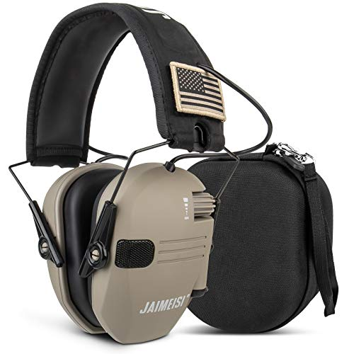 Jaimeisi Electronic Shooting Earmuffs Tactical Slim Ear Hearing Protection Headphones for Gun Range with Storage Case 24NRR
