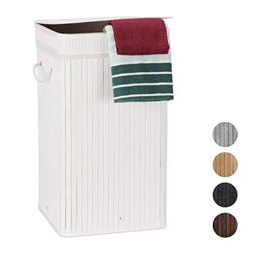 Relaxdays Wäschekorb Bambus, faltbar & tragbar, XL 70l mit Deckel, eckiger Wäschesammler, HxBxT: 63 x 36 x 36 cm, weiß