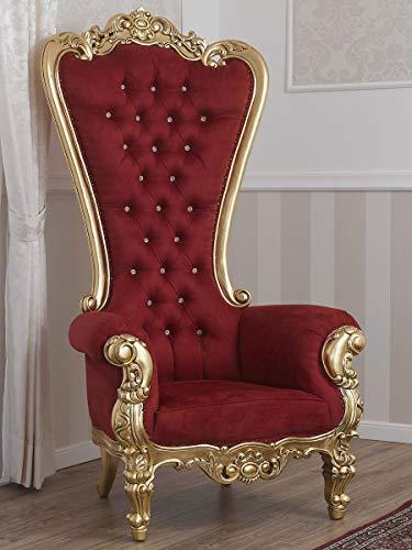 SIMONE GUARRACINO LUXURY DESIGN Poltrona Regina Stile Barocco Imperiale Trono Foglia Oro Velluto Bordeaux Bottoni Crystal SW