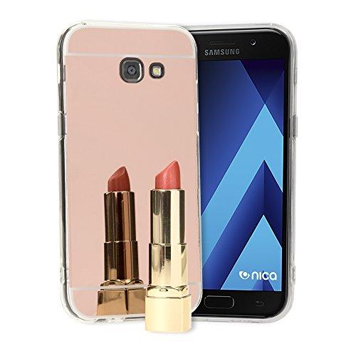 NALIA Custodia Specchio compatibile con Samsung Galaxy A5 2017, Ultra-Slim Mirror Case Cover Protettiva Silicone Telefono Cellulare Bumper Copertura Protezione Sottile, Colore:Rosa Gold Oro