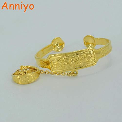 NCDFH Mein Mädchen Stempel Armreif Gold Farbe Armband für Baby Schmuck Afrika Arab Baby