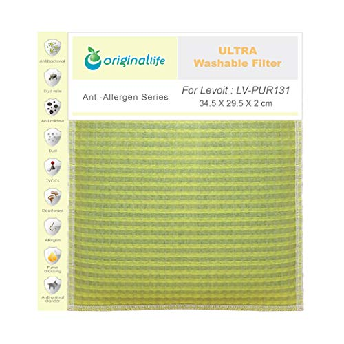 Originallife Filtro purificador de aire Ultra para Levoit: LV-PUR131 – lavable, reutilizable, antiolores y antialérgenos.
