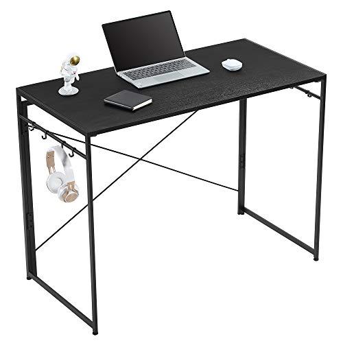 Yifeel Escritorio de ordenador de 100 cm, escritorio de oficina en casa, mesa de oficina con 8 bonos, escritorio de trabajo plegable, escritorio de PC, negro UFCD007BB