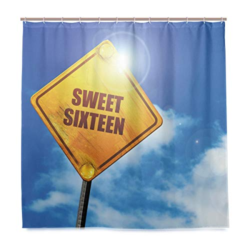 GLONLY Duschvorhang,Geburtstag Sweet Sixteen Road Print,Badvorhang Badezimmer Hochwertig mit Haken Set Wasser Resistent 180 x 180 cm