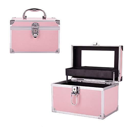 WYCD Boite De Maquillage avec Miroir Et Porte-pinceaux Cosmetic Case Organisateurs De Bijoux Verrouillable 23 X 15 X 15 Cm,Pink