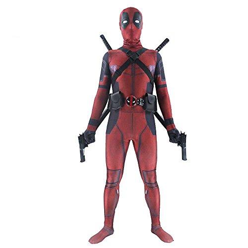shoperama Deadpool Kostüm für Kinder Teenager Damen und Herren Superhero Superheld Comic Anti-Held Overall Cosplay, Größe:36