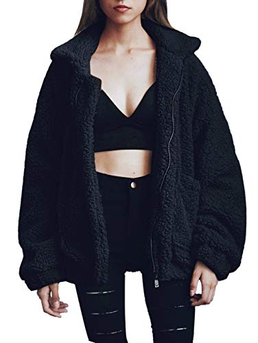 SHIBEVER Fluffy Women Coats Faux Wool Blend Warm Winter Jacket Zip Up Long Sleeve Oversized Fashion Outerwear Black L