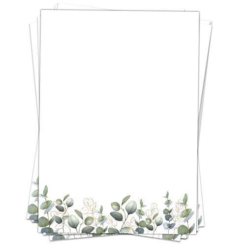 Briefpapier Motivpapier Design-Motiv Eucalyptus grün mit Gold-Look - 50 Blatt, DIN A4 Format, Bastel-Papier beidseitig bedruckt