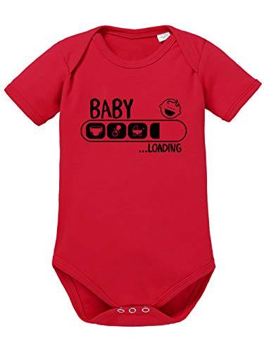 clothinx Baby Loading | Lustige Geschenkidee zur Geburt oder Taufe | Windel, Schnuller, Kinderwagen geladen Baby-Body Bio Rot Gr. 74-80