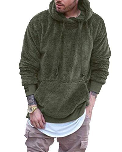 MODCHOK Herren Teddy-Fleece Jacke mit Taschen Warm Plüsch Mantel Hoodie Kapuzenpollover Sweatshirt Outwear 2-Grün XL
