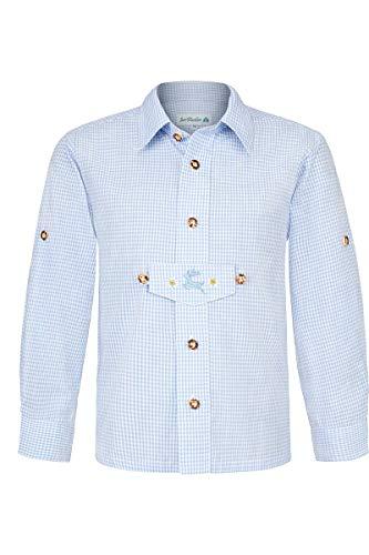 Isar-Trachten Jungen Kinder Trachten Hemd mit Pfoad und Stickerei kariert hellblau, HELLBLAU, 98