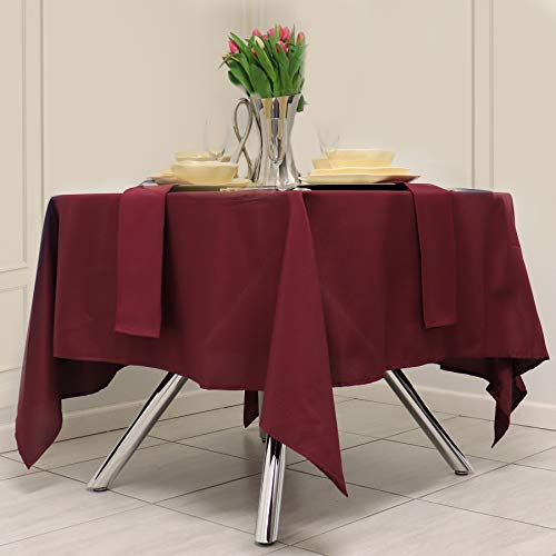 Kadut Square Tablecloth 52 x 52 Inch Burgundy Square Table Cloth for Square or Round Table | Heavy Duty | Washable Tablecloth for Parties, Weddings, Kitchen, Restaurant, Wrinkle-Resistant Table Cover