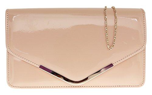 Girly Handbags Schöne Lack Leder Metallische Rahmen Umschlag Handtasche Schultertasche Party Abend Hochzeits