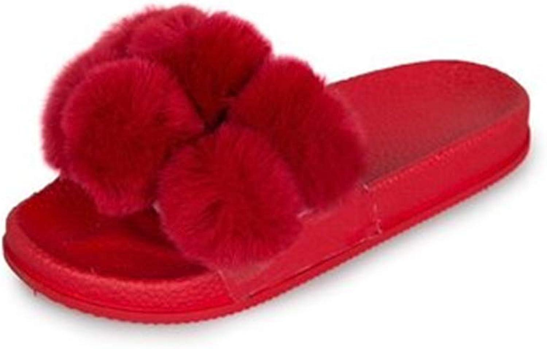 SUNNY Store Cute Ball Indoor Slippers for Women Open Toe, Plush Anti Slip Flip Flops