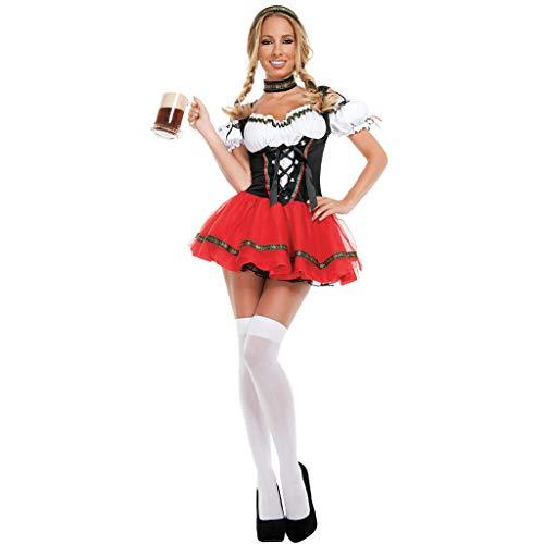 iYmitz 3 Stück Dirndl Rock Traditionelle bayerische Bier Festival Cosplay Kostüme,Festkleid Copsplay Kostüm, Damen Dirndl Kurz - Mini Trachtenkleid für Oktober,Halloween Kleider