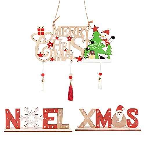 ABSDON 2 Pcs Letreros de Madera de Navidad y 1 Pcs Colgantes...