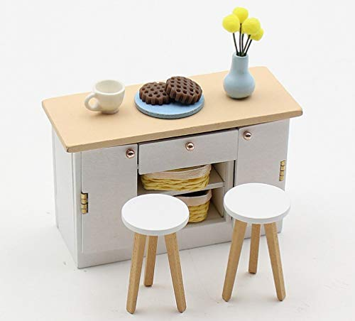 DIY Dollhouse Accessories and Furniture – Fun to Assemble Miniature Doll House Furnishings Crafts for Older Kids and Adults Wooden Dollhouse Furniture Set Scale 1:18 - Kitchen Bench with Stools