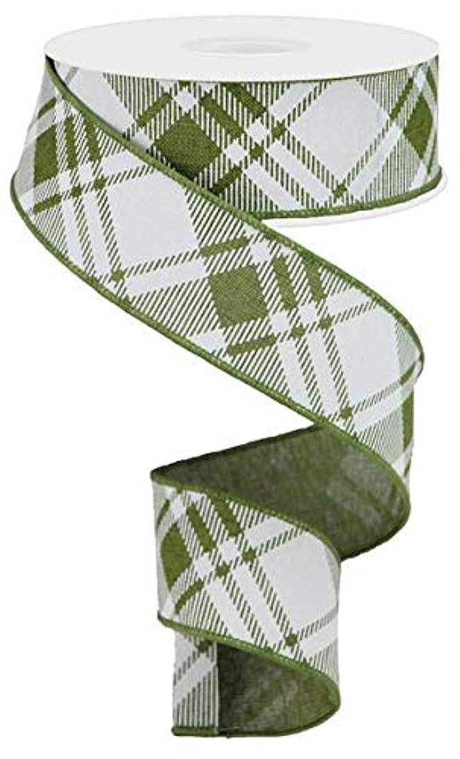 Diagonal Stripe/Check Wired Edge Ribbon - 10 Yards (Moss Green, White, 1.5