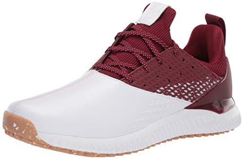 adidas Men's Adicross Bounce 2 Golf Shoe, White/Collegiate Burgundy/Gum, 10.5 Medium US