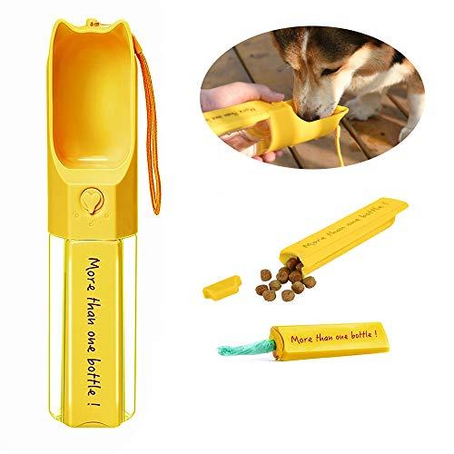 Hundewasserflasche, Tragbarer Wasserspender Auslaufsichere Haustierwasserflasche für den Außenbereich, BPA-frei, mit Abnehmbarer Schachtel, Gelb