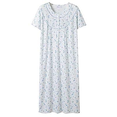 Keyocean Women's Nightgowns 100% Cotton Lace Trim Short Sleeve Solid Long Sleepwear for Women (L, Blue Floral) by Keyocean