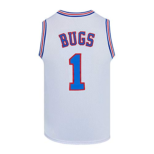 Youth Basketball Jersey Bugs #1 Moive Space Jam Jersey Boys Sport Shirts (White, Youth X-Large)