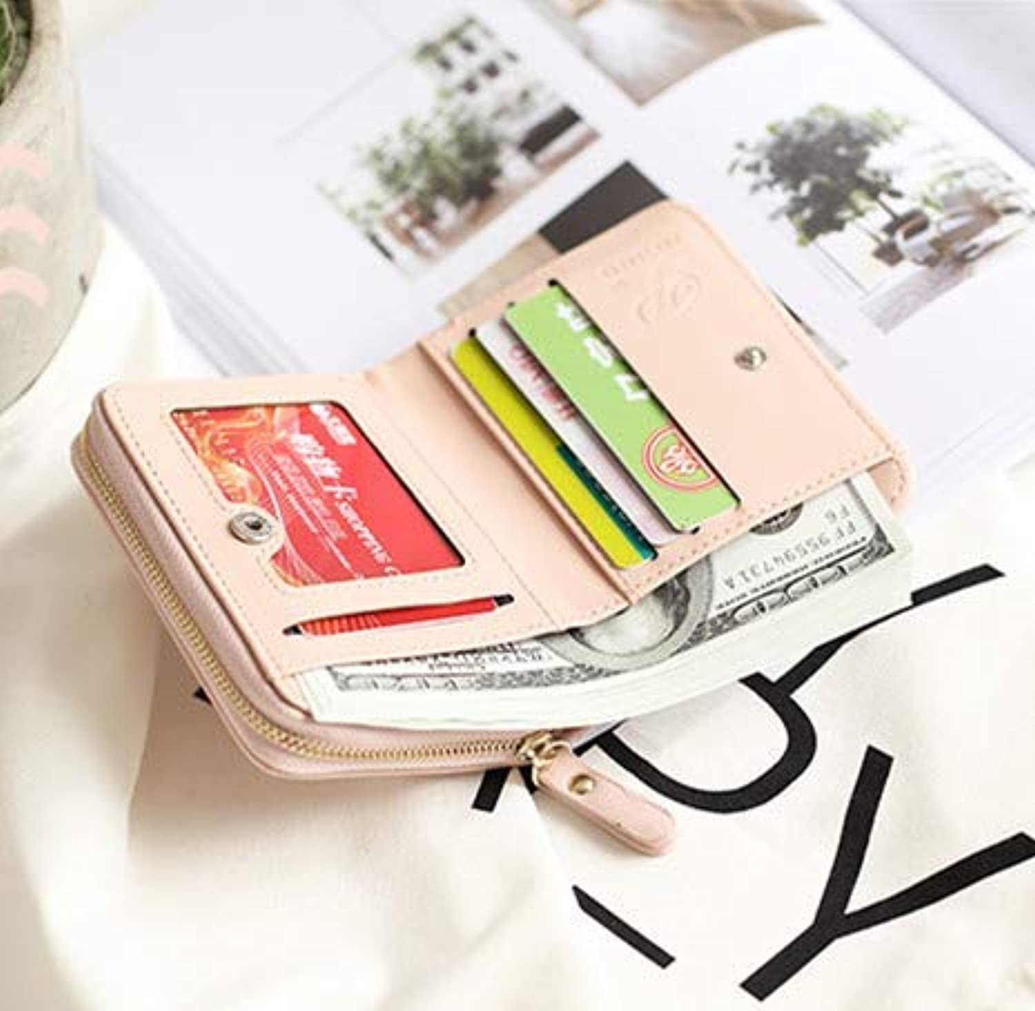 New Wallet Female Short Paragraph Student Korean Version Cute MultiFunction MultiCard Folding Coin Purse (color   bluee) Ladies Purses (color   Pink)