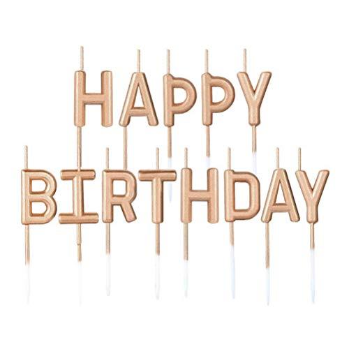 JUHONNZ Candeline con Buon Compleanno,Particolari Candele di Compleanno con Happy Birthday per Decorazione della Torta di Compleanno,Champagne