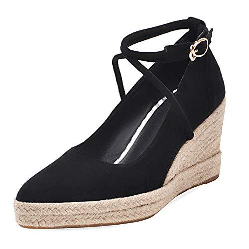 HavueGatue Damen Mode Keilabsatz Pumps Runder Zeh Cross Strap Plateau Espadrilles Pumps Schuhe Black Size 37 Asian