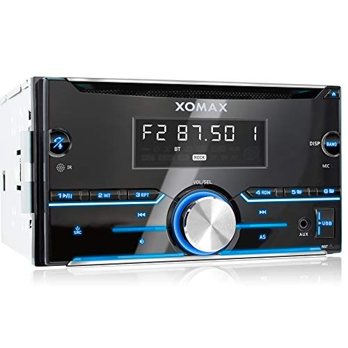 XOMAX XM-2CDB626 Autoradio con Bluetooth Vivavoce + 7 LED colori + CD + Porta USB (fino 64 GB) per MP3 e WMA + AUX-IN + RDS + AM/FM + Dimensioni standard doppio-DIN / 2-DIN