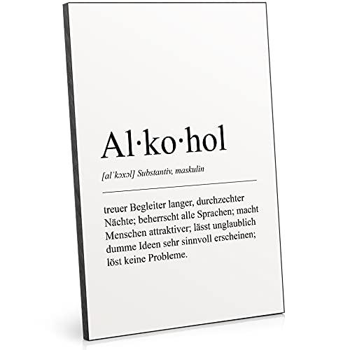 ARTFAVES® Holzbild - Worterklärung/Duden Definition: Alkohol - schwarz-Weiss Deko Wandbild Holzschild mit Spruch / 19 x 28 x 1 cm/Wohnzimmer/Schlafzimmer