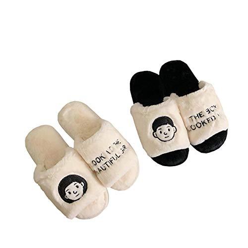 Moda instinto de estilo pareja zapatillas de algodón para el hogar de las mujeres aislamiento térmico antideslizante de felpa zapatos de algodón de peluche zapatillas de peluche moda,Blanco,40/41