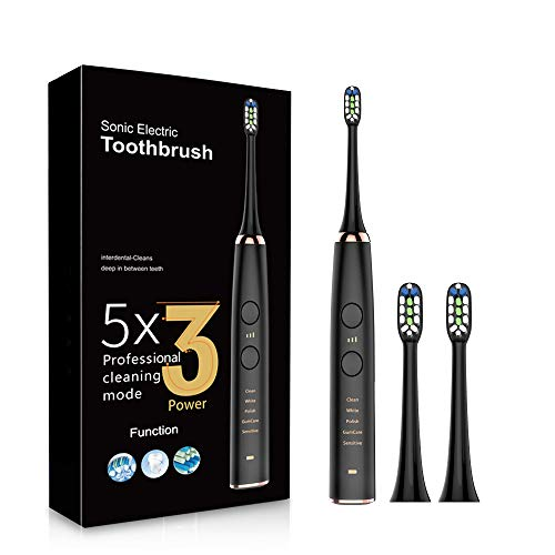 Sonic Electric Toothbrush, 5 In 1 Smart Toothbrush for Teens & Adults, Power Toothbrush with 3 Speeds, 2 Heads, 5 Modes, Smart Timer, Battery Last 30 Days, USB Rechargeable, IPX7 Waterproof, Black…