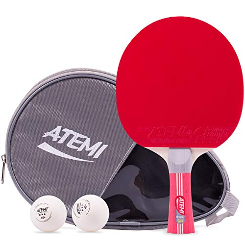 Lot De Balles De Tennis De Table 5 Etoiles Atemi Sniper| Ensemble De 3 Pièces, Raquette De Ping-Pong 5 Couches, 2 Balles 40+ & NOUVEL ÉTUI Tout Usage, Jeu Tous Niveaux Vitesse, Spin & Contrôle Avancés