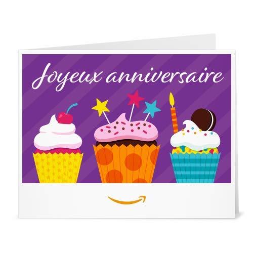 Chèque-cadeau Amazon.fr - Imprimer - Cupcakes d'anniversaire