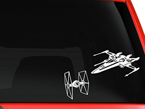 Star Wars X Wings and Tie fighter Aircrafts jet space ship decal for cars truck laptop macbook window decal sticker 10x7 inches white