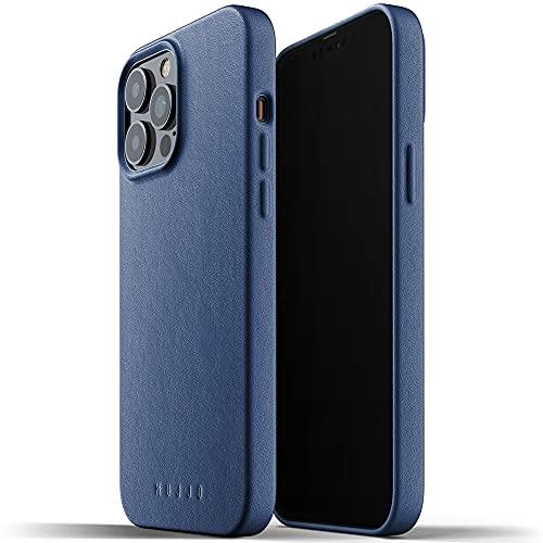 Skórzane etui ochronne Mujjo do iPhone'a 13 Pro Max (Niebieski) - słoneczny Nowość - etui ochronne z miękkiej skóry z efektem naturalnego zamszu - wysokość 1 mm na ekranie - bardzo cienkie - 6,7 cala