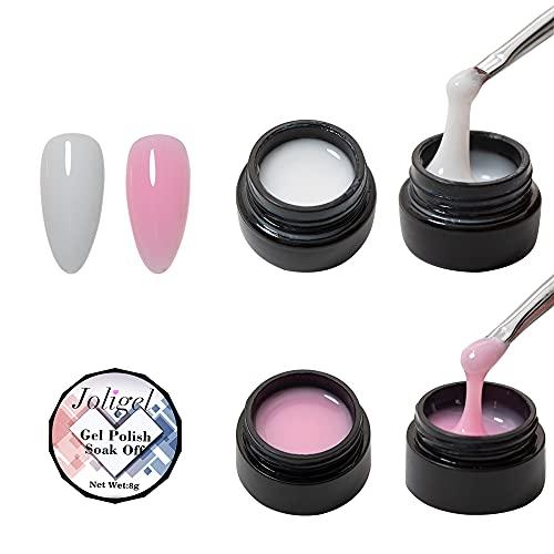 Joligel Gel Constructor de Uñas Kit Gel de Extensión para Uñas, Set de Gel para Fortalecer las Uñas, Set Rosa Nude para Manicura Francesa Nail Art, Gel para Mejora de Uñas, 2 Colores (Rosa y Blanco)