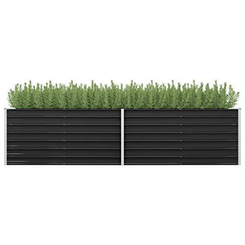 Jardinera para jardín de acero galvanizado, jardinera de exterior grande, rectangular, antracita,...