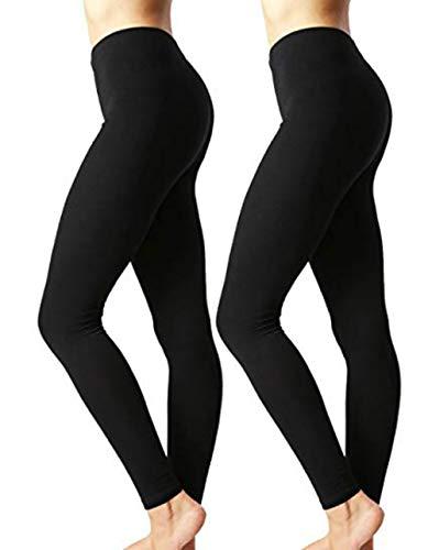 JKC USA Selected Premium Cotton Full Length Solid Color Leggings OP-1851 (Medium, 2PACK-BLK-BLK)