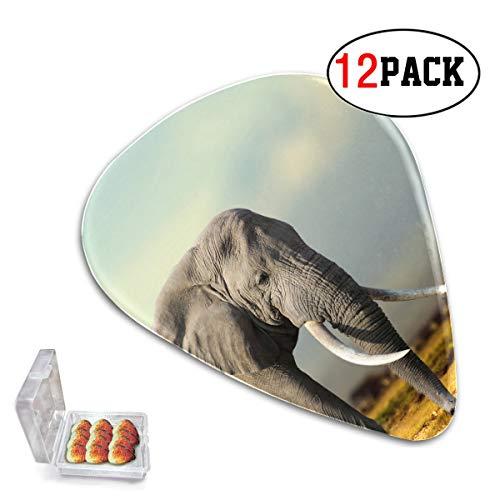 Paquete de 12 púas bonitas para guitarra, elefante africano, Parque Nacional de Masai Mara, púas para guitarra, fino/medio/pesado, púas de plástico para guitarra adecuadas para bajo, guitarra elé