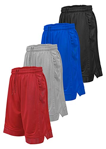 Starting 5 Mens Basketball Shorts with Pockets, Active Athletic Performance Color Block Mens Workout Shorts, 4 Pack (Black/Red/Silver/Royal, Large)