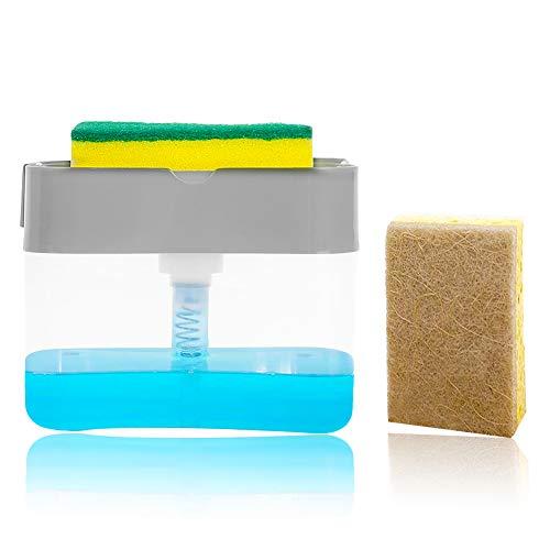 Soap Pump Dispenser Sponge Holder andDishcloth Cellulose Sponge Cloths,Kitchen Dish Soap Dispenser + Sponge Holder 2-in-1,Good Grips Soap Dispensing Sponge Holder,13 Ounces
