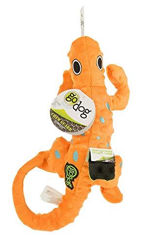 goDog Amphibianz Gecko with Chew Guard Technology Bubble Plush Squeaker Dog Toy, Medium, Orange