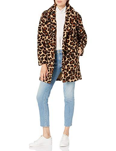 Amazon Brand - Daily Ritual Women's Teddy Bear Fleece Oversized-Fit Lapel Coat, Leopard Print, Small