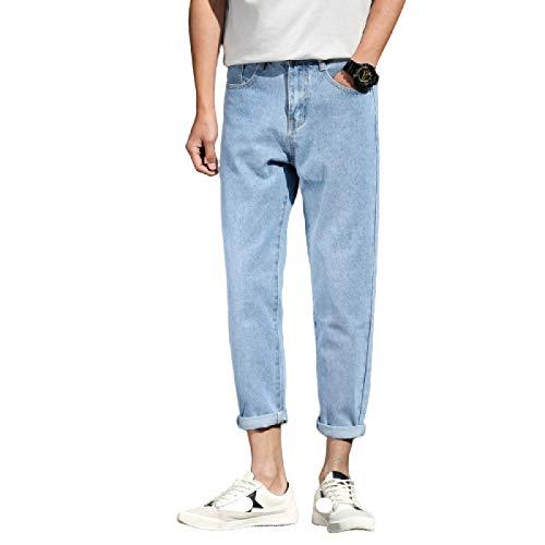 Pantalones Vaqueros para Hombre Pantalones Harem Rectos Sueltos Sencillos de otoño Pantalones Vaqueros de Ajuste Regular de Todo fósforo 30