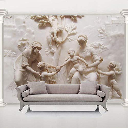 Papel Tapiz 3D Mural Hogar Dormitorio Sala de Estar Decoración de Pared Fondo 3D Tallado de Jade Europeo Ángel Arte retro-400cmx280cm